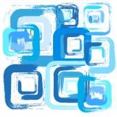 Blue brush squares on white background — Stock Vector