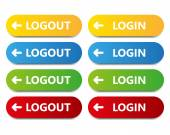 Vector color button log in log out — Stock Vector