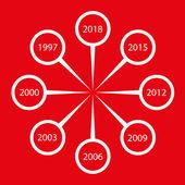 Vector tijdlijn wit op rode — Stockvector