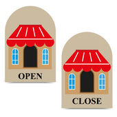 Vector tags open and close shop — Stock Vector