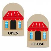 Vector tags openen en sluiten van winkel — Stockvector