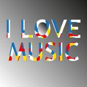 I love music modern poster — Stockvector