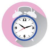 青の目覚まし時計。フラット スタイル. — ストックベクタ