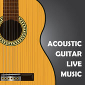 Acoustic guitar on a black background. Vector image. — Stock Vector