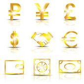 Golden signs currency with shadow on a white background. — Stock Vector