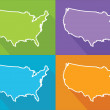 Colorful map - USA — Stock Vector #52443085