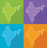 Colorful maps - India — Stock Vector