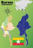 Burma (Myanmar) vector set. — Stock Vector