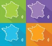 Färgglada kartor - frankrike — Stockvektor