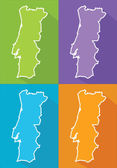 Colorful maps - Portugal — Stock Vector
