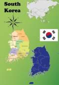 South Korea maps — Stock Vector