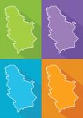Colorful maps - Serbia — Stock Vector