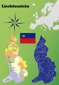 Liechtenstein maps — Stock Vector