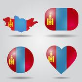 Mongolia flag set — Stock Vector
