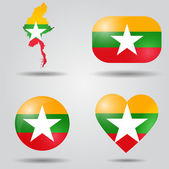 Burma flag set — Stock Vector
