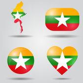 Burma flag set — Stock Vector