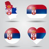 Serbia flag set — Stock Vector
