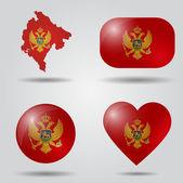 Montenegro flag set — Stock Vector