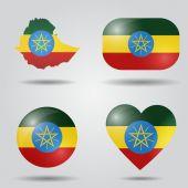 Ethiopia flag set — Stock Vector