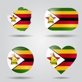 Zimbabwe flag set — Stock Vector