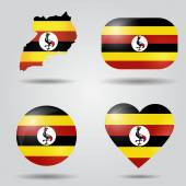 Uganda flag set — Stock Vector