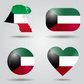 Kuwait flag set — Stock Vector
