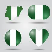 Nigeria flag set — Stock Vector