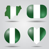 Nigeria flag set — Stock Vector