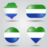 Sierra Leone flag set — Stock Vector