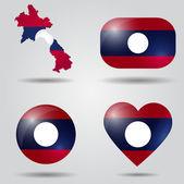 Laos flag set — Stock Vector