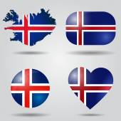 Iceland flag set — Vector de stock