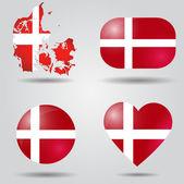 Danimarka bayrağı ayarlanmış — Stok Vektör