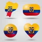 Ecuador flag set — Stock Vector