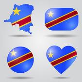 Democratic Republic of the Congo flag set — Stock Vector