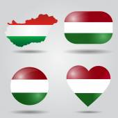 Hungary flag set — Stock Vector
