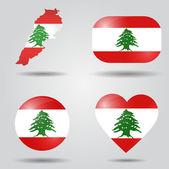 Lebanon flag set — Stock Vector