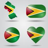 Guyana flag set — Stock Vector