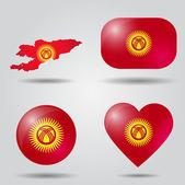 Kyrgyzstan Flag set — Stock Vector