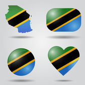 Tanzania flag set — Stock Vector
