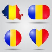 Romania flag set — Stockvektor