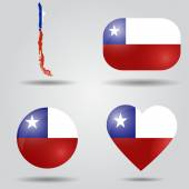 Chile flag set — Stock Vector
