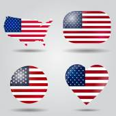 United States of America flag set — Stock Vector