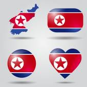 North Korea flag set — Vector de stock