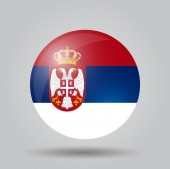 Circular flag  - Serbia — Stock Vector