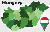 Hungary political map — Stock Vector