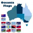 Oceania flag set in alphabetical order — Stock Vector #55516129