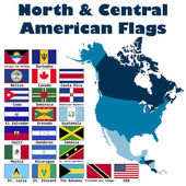North and Central American flag set — Stock vektor