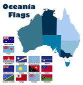 Oceania flag set in alphabetical order — Stock Vector