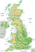 Mapa físico do Reino Unido — Vetor de Stock