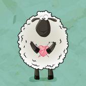 Sheep with heart — Stock vektor